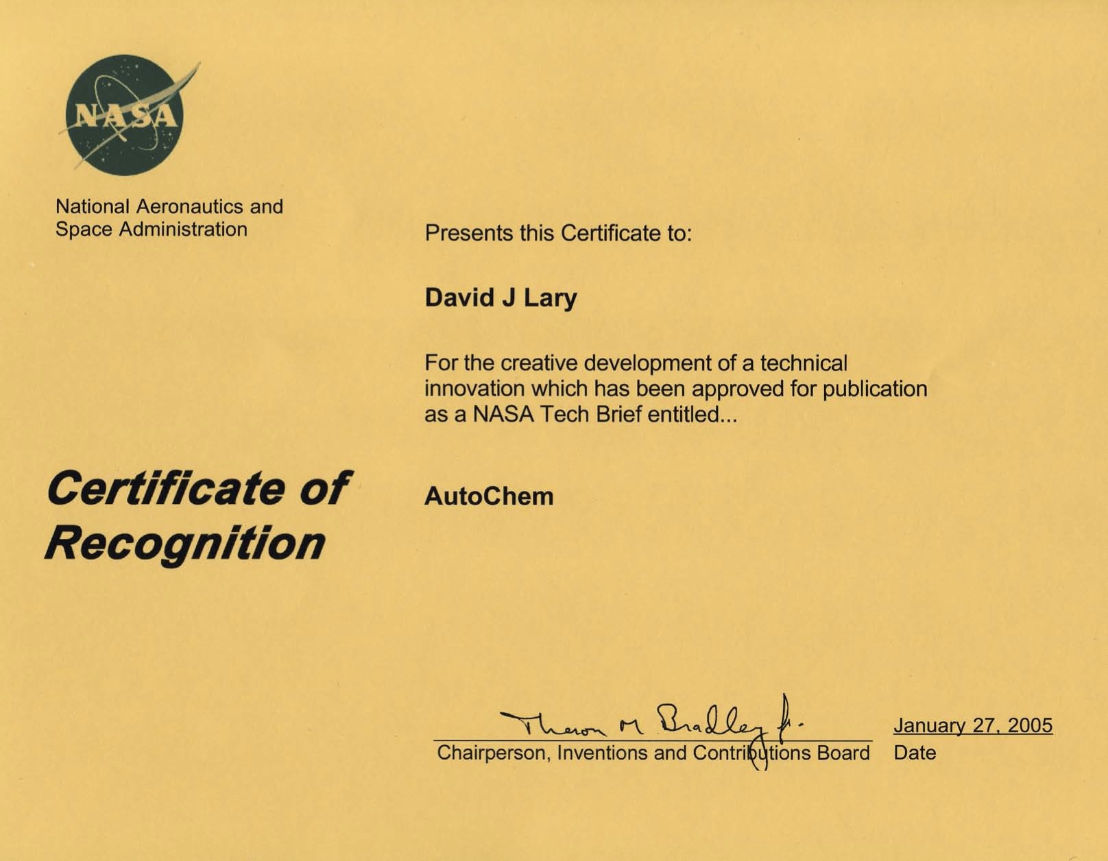 nasa employee certificate - photo #11